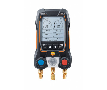 testo550s Комплект 3 с заправочными шлангами - Умный цифровой манометрический коллектор, смарт-зонды зажимы температуры и набор из трёх заправочных шлангов